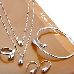 925 Sterling Silver Water Drop Jewelry Set